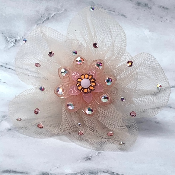 Tarina Tarantino Pink Tulle Filigree Flower Ring